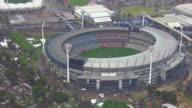 WS AERIAL View of AFL stadium / Deniliquin, New South Wales, Australia
