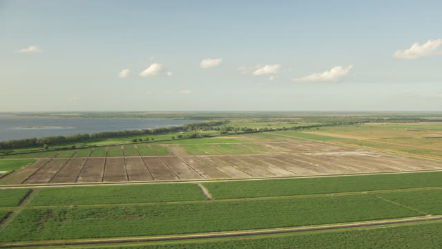 WS AERIAL View of agricultural fields and lake and farm land in Okeechobee County / Florida, United States