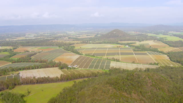WS AERIAL View of agriculture land / Melbourne, Victoria, Australia