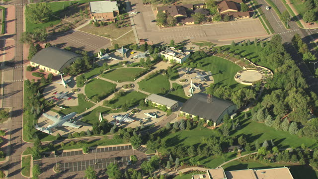 MS DS ZI AERIAL View of air and space museum airplanes / Colorado Springs, Colorado, United States