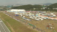 WS AERIAL View of Air show in Ansan / Ansan, Kyongsangbuk-Do Province,South Korea