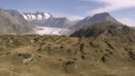 WS AERIAL View of Aletsch Glacier / Aletsch Glacier, Valais, Switzerland