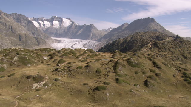 WS AERIAL View of Aletsch Glacier / Aletsch Glacier, Valais, Switzerland