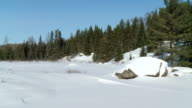 WS PAN View of Algonquin park during winter / Whitney, Ontario, Canada