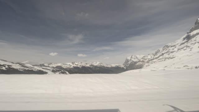 T/L View of Alps from cogwheel train / Interlaken, Switzerland