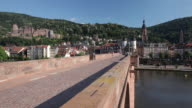 WS View of Alte Brucke (Old Bridge) crossing River Neckar / Heidelberg, Baden-Württemberg, Germany