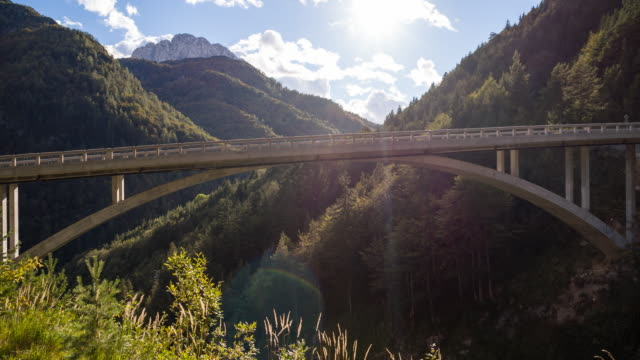 View of an arch bridge in the mountainside