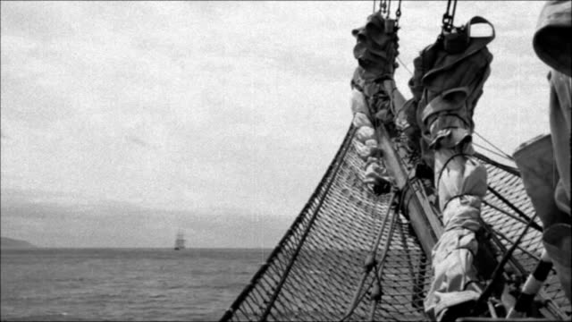 view of an old sailing ship bowsprit - stylized old movie