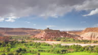 WS T/L  View of ancient Kasbah town of Ait Benhaddou on  former Caravan Route beside Quarzazate River / Morocco