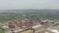 WS AERIAL View of Anheuser Busch brewery and city / St Louis, Missouri, United States