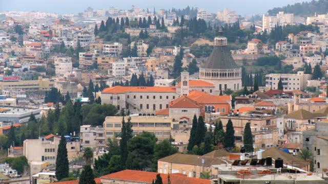 WS ZO View of Annunciation church in modern city / Nazareth,  Lower Galilee,  Isarel
