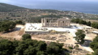 WS AERIAL DS View of Aphia or Aphaea temple  / Aigina, Saronic Islands, Greece