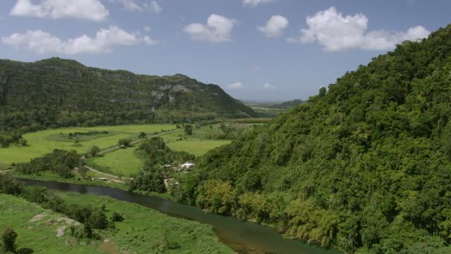 WS AERIAL POV View of Arecibo River with landscape / Arecibo, Puerto Rico, United States