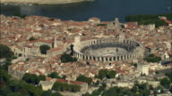 AERIAL, View of Arles and Roman amphitheatre, Provence-Alpes-Cote d'Azur, France