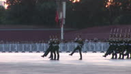 View of army parade in Tiananmen Square in Beijing China