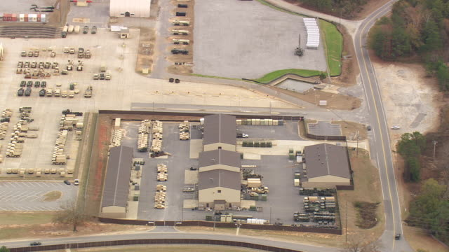 WS AERIAL View of Army truck stand of Fort Benning / Georgia, United States