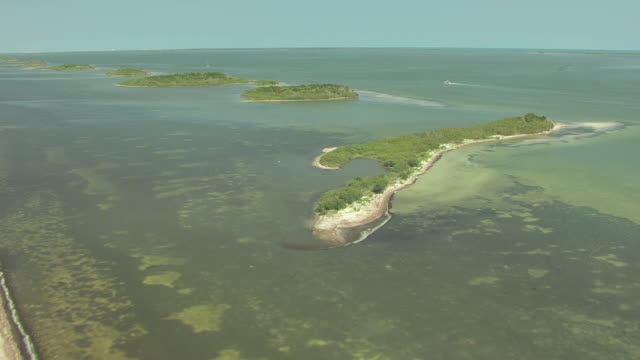 WS AERIAL View of assorted islands at Mosquito Lagoon in Brevard County / Florida, United States