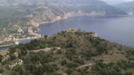 WS AERIAL View of Assos Castle in Lefkada / Lefkada, Ionian Islands, Greece