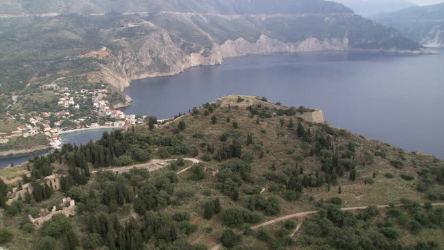 WS AERIAL View of Assos Castle in Lefkada / Lefkada, Ionian Islands, Greece