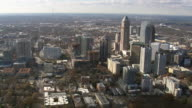 WS AERIAL View of Atlanta city with wooded area / Georgia, United States