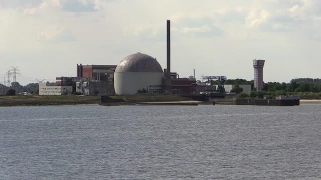 WS POV View of atomic power plant Stade near river Elbe, Niedersachsen / Hamburg, Germany