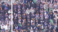 MS AERIAL View of audience in AFL stadium / Deniliquin, New South Wales, Australia