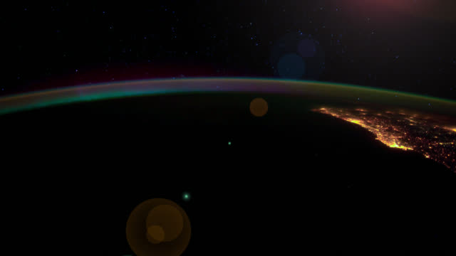 ISS view of Aurora Borealis over Western Europe. Subtle motion and flare effect.