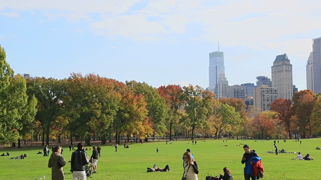 WS PAN View of autumn color trees and people and Manhattan skyline at Sheep Meadow / New York, United States