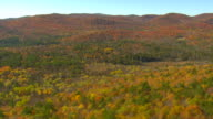 WS AERIAL View of autumn color trees at Green Mountain Nat Forest / Vermont, United States