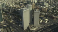 WS AERIAL View of Azrieli towers in Tel Aviv / Tel Aviv, Israel