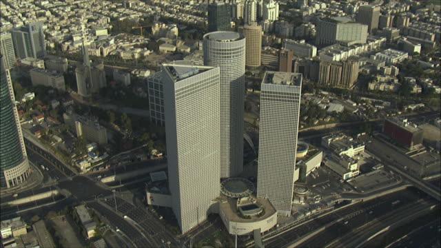 WS AERIAL View of Azrieli towers in Tel Aviv / Tel Aviv, Israel
