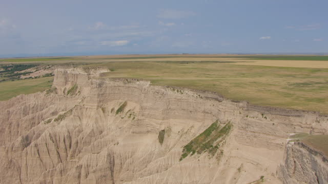 WS AERIAL View of Badlands mountains in Shannon County / South Dakota, United States