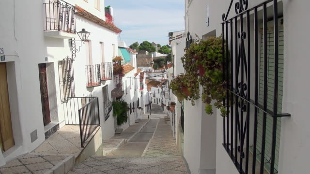 MS View of Balcony houses with tree pot at mountain village Mijas / Mijas, Andalusia, Spain