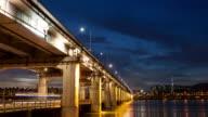 WS T/L View of banpodaegyo Bridge at night / Seoul, South Korea