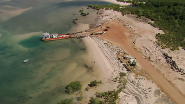 AERIAL WS DS View of Barge Docked in Darwin / Darwin, Northern Territory, Australia