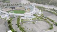 WS AERIAL View of baseball diamond