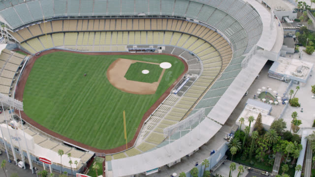 WS AERIAL View of baseball diamond