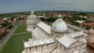 WS PAN View of Basilica and Baptistry of St. John from Leaning Tower / Pisa, Tuscany, Italy