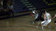 MS PAN SLO MO View of basketball match  / Riverside, California, United States