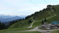 WS PAN View of Bavarian alm, mountain top accommodation/restaurant / Lenggries, Bavaria, Germany