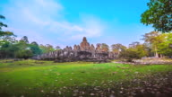 MS POV T/L View of Bayorn Temple in Angkor Wat / Angkor, Siem Reap, Province Colombia