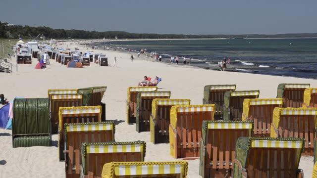 WS View of Beach chairs at sandy Beach at Seaside resort Binz / Rugen Island, Mecklenburg-Western Pomerania, Germany