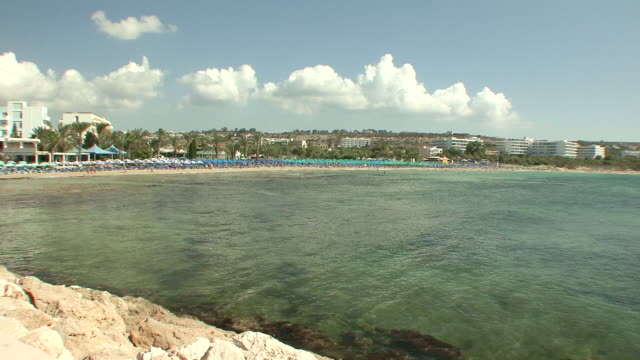 MS View of beach in bay / Agia Napa, Cyprus