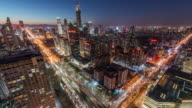 T/L WS HA ZI View of Beijing CBD area and Road Junction at Night / Beijing, China