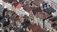MS AERIAL PAN View of Belfort tower and street cafe at Ghent / Flanders, Belgium
