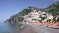 WS View of bencehs with umbrellas at beach / Positano, Campania, Italy