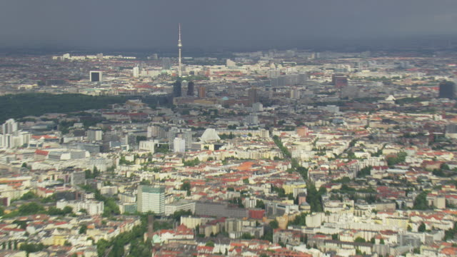 WS AERIAL ZI View of Berlin TV tower and city with cloudy sky / Germany