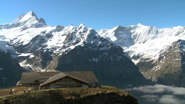 WS View of  Bernese Alps and restaurant / Grindelwald, Bernese Oberland, Switzerland