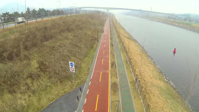 View of bicycle lane at Gyeongin Ara Waterway