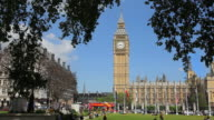WS View of Big ben and houses of parliament at Westminster green / London, United Kingdom